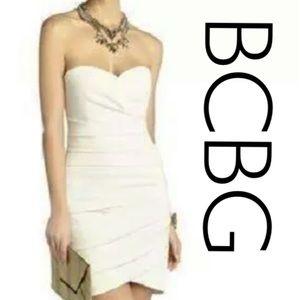 BCBG Madge White Sweetheart Dress, size 4